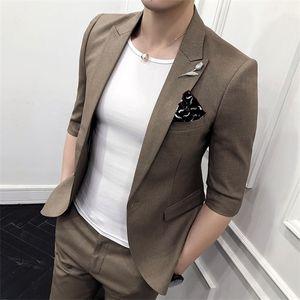 Korean Men Suit Casual Slim Fit Wedding Suits for Men 2pcs Set Groom Business Dress Suits Formal Summer Costume Homme Terno W1217