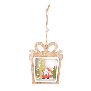 Christmas decorations wooden laser hollowed out Christmas Tree Pendant wood double Pentagram pendant Christmas Series 6 Style OWB2294