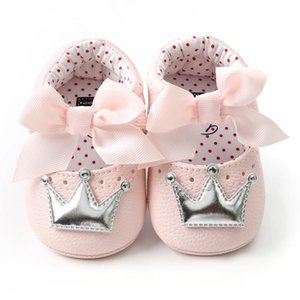 Cute Baby Girl PU Leather Shoes Kid Moccasins First Walkers Crown Bow Soft Soled Non-slip Footwear Crib Shoes