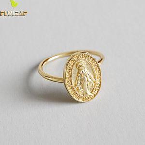 Flyleaf Oro Virgen María redondas Marca anillos abiertos para las mujeres de alta calidad 100% 925 Señora Religión joyería