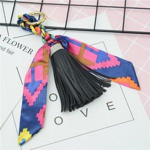 New Hot Sale Scarves Key Holder Bowknot Exquisite Decoration Pu Leather Tassels Keychains Women Bag Charm Pendant Eh847 H jllKrJ