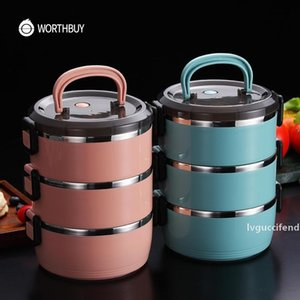WORTHBUY Japanese Thermal Lunch Box For Kids Stainless Steel Food Container Leakproof Bento Box Children School Food Box T200523