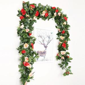 2.4m 7.8ft Artificial Silk Rose Flower Wisteria Vine For Wedding Garden Hanging Decoration Flower Garland Rattan Party I8X2