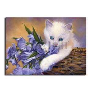 Full Square Diamond painting purple flower DIY 3D Diamond mosaic white cat Full Round Diamond embroidery Cross stitch Animal