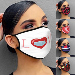 Adult Fashion Print Face Cover Reusable Valentine's Day Windproof Anti-Dust Mouth Masks Washable Breathable Cycling Mask Kimter-C466FZ