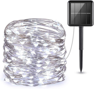 8color 33FT Solar String Lights Outdoor Waterproof Warm White Solar Lights Copper Lights for Christmas Decoration Patio Wedding HHB2432
