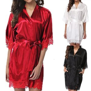 Mulheres Curto Cetim Noiva Robe Sexy Wedding Dress Vestido Lace Silk Kimono Bathrobe Summer Dama de Hama Namorada