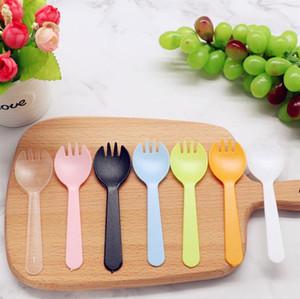 Portable fruits à usage unique en plastique fourchette épaissie Fourchette à dessert Cake Party cuillère Salade de légumes Accessoires de cuisine Vaisselle OWF2714