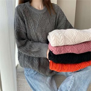 Autumn And Winter 2020 Lazy Wind Thickened Jacket Loose Medium Length Twist Diamond Woolen Sweater For Women Free Shipping