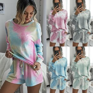 5 colour S-XL Womens Gradient Top T-shirt + Shorts Set 2Pcs Lounge Wear Tracksuit Casual Suit 62400176942536
