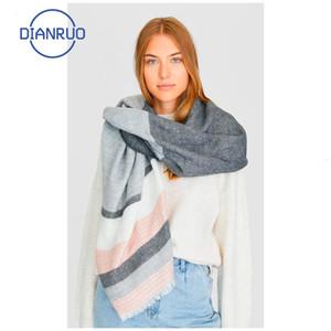 Linling Sıcak Satış Sonbahar Kış Kadın Akrilik Eşarp Kadın Eşarplar Geniş Çizgili Uzun Şal Wrap Battaniye Sıcak Tippet N336