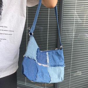 Underarm Fashion Design Frauen Denim Bag Kontrastfarbe Damen Kleine Umhängetaschen Vintage Weibliche Kupplung Geldbörse Tasche Handtaschen