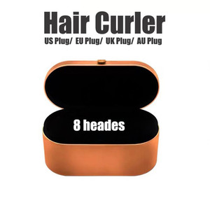 UE / Royaume-Uni / US / AU 8HEIGES Courreur de cheveux avec boîte cadeau Dispositif de coiffure de cheveux multifonctions Fer à friser automatique pour la qualité des cheveux normaux