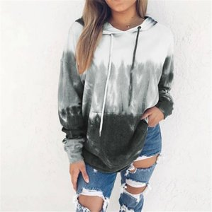 Tie Dyed Women Hoodies Fashion Loose Long Sleeve Drawstring Hooded Hoodies Pullover Autumn Women Designers Clothes