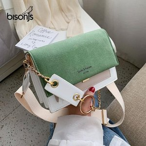BISONJS Scrub Leather Contrast Color Crossbody Bags For Women 2020 Chain Simple Shoulder Bag Lady Purses and Handbags Cross Body