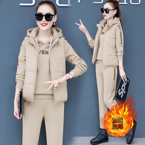 Autumn and winter new Fashion women suit women's tracksuits casual set with a hood fleece sweatshirt three pieces set 201009