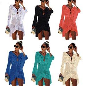 Women Bikini Cover Ups Fashion Solid Knitting Hollow Out Pareo Ladies v Collar Beach Dress Summer Sunscreen Swimwear Scarf Shawl 05