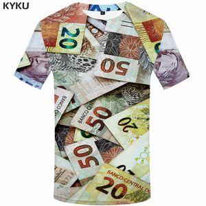 3d Tshirt Деньги T Shirt Мужчины Бразилия футболки 3d Harajuku Tshirt Printed Аннотация Аниме Одежда Vintage рубашка с коротким рукавом печати uIPW #