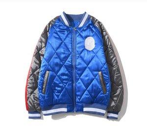 Мужская мода куртки Йокосука Шелковый Ромбическая вышивки Бейсбол Равномерное 2020 Зимняя стоячий воротник мужчин и женщин хлопок Стоимость хлопка куртка