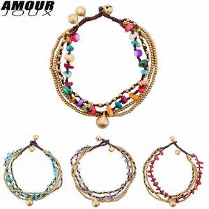 Amourjoux Multilayers handgefertigt 5 Farben / Steine Bell Bein Fußklets für Frauen Knöchel Armband Frau Anklet Weibliche Fußschmuck T200901