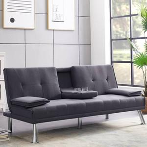 미국 주식 현대 가짜 가죽 컨버터블 이불 소파 침대 안락 의자 소파 + 금속 다리 + 2 컵 빠른 배송