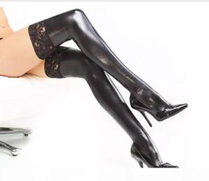 2 pecs Hosiery Wedding elastic leather glue sexy elastic stockings Sexy Lingerie Faux Leather Thigh Highs Sexy latex Stockings pu stocking
