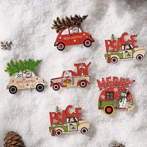 6pcs Wooden Refrigerator Stickers Christmas Car Cute Decorations Family Party New Year