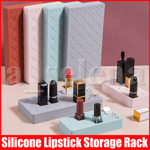 Batom armazenamento Silicone Multi-Parte Cosméticos Organizador rack penteadeira batom Criativo Mostrando suporte 12/24/34 Grade