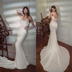Sexy Mermaid Wedding Dresses Lace Beads Appliques Zipper Back Beach Bridal Gowns Sweep Train Bohemian Robe De Soirée