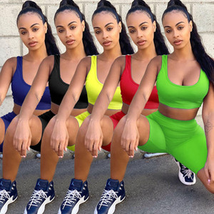 Womens Sleeveless Two Piece Tracksuits Summer Solid Color Tanks Top Sexy Skinny Biker Shorts Casual Breathable Women Jogger Fitness Sets