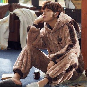 pyjamas pour flanelle Loisirs costume de sommeil d'hiver de pyjama pour hommes hommes mis le chaud hommes de sexe masculin pour dormir vêtements de nuit 201008