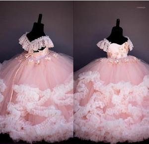 Cordón rosado con cuentas, vestido, niña, vestido, vestido, bola, vestido, hecha a mano, niña, niña, vestidos de novia, puente de la vendimia, gowns1