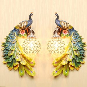 Modern Gold Colorful White Peacock Crystal Wall Lamp Creative Nordic Resin Metal Retro Aisle LED Wall Light
