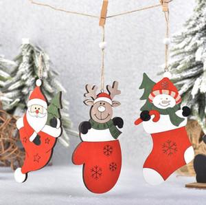 Arbre de Noël décorations colorées en bois Creative Arbre de Noël Pendentifs Père Noël Milu cerfs communs Pendentifs Ornement de Noël cadeau 3 Styles KKA1602