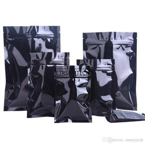 11 Размер Черный Алюминиевая фольга мешок с плоским днищем Metallic Майларовый Черный Zip сумка Пищевая упаковка сумка оптовой LX1042