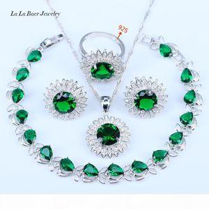 Hot Sale Flower Blue Stones White CZ 925 Sterling Silver Wedding Jewelry Sets For Women Earrings Pendant Necklace Rings Bracelets