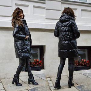 Casual Winter Bubble Coat Women 2020 New Solid Color Long Hooded Black Glossy Parkas Clothes Midi Puffer Jackets Female Outwear LJ201127