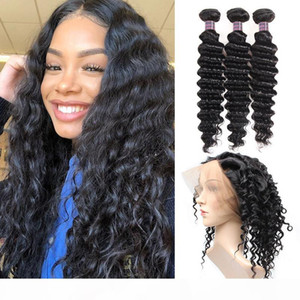 8A Brazilian Human Hair Bundles with Closure Deep Wave Hair 360 Lace Frontal With 3 Bundles 100% Unprocessed Virgin Human Hair Extensions