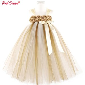 POSH DREAM Brown Flower Girls Wedding Dresses for Party Ivory Cute Flower Children Birthday Clothes Floral Baby Tutu Dresses