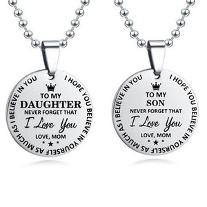Stainless Steel Mom To My Son Daughter Pendant Necklace Dad Son Best Birthday Gift Family Jewelry