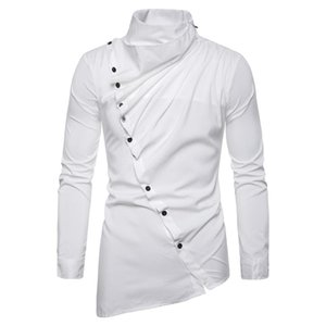 Men Shirt Vintage Party Evening Steampunk Victorian Renaissance Long Sleeve Jabot Collar Solid Ruched Club Shirts Tops