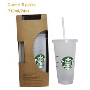 1 juego = 5 piezas transparentes tazas de vasos de plástico de jugo que no cambian de color tazas reutilizables de bebidas taza de Starbucks con tapas y pajas Coffe