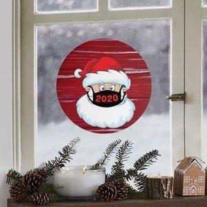 21 * 21 cm di Natale Sticker rotonda creativa del fumetto finestra di vetro Adesivi Natale Babbo Natale Atmosfera Adesivi T500332