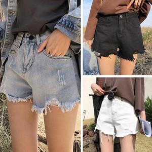 2021 Womens Summer Shorts Ripped Denim White Black High Waist Loose Leg Hot Shorts Ladies Fashion Casual Jean Grind Hole