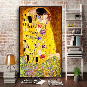 Классический художник Gustav Klimt Kiss Абстрактный 5D Алмазная живопись Современная мозаика Плакат Алмазная Вышивка Украшение Дома 201112