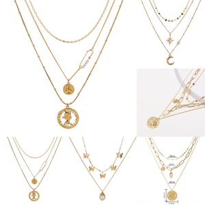 cvuth inoxydable pour I Or collier d'amour mama chaînes Multilayer colliers pendentif coeur mode jour mère acier femmes pendentif titan filles j
