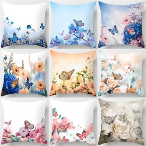 1Pcs Butterfly Flower Pattern Polyester Cushion Cover 45*45cm Decorative Pillows For Seat Car Home Sofa Bed Decoration 40849