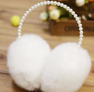 Las mujeres elegantes de la piel de imitación diadema de perlas orejeras calentador del oído del oído de la cubierta al aire libre orejeras 6 colores KKA8126