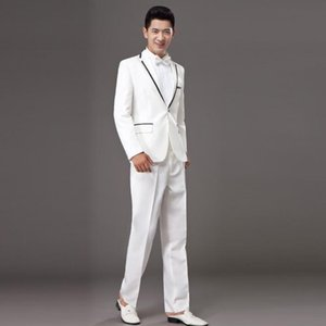 Chorus mariage groom wedding suits for men blazer boys prom suits fashion slim masculino latest coat pant designs stage white