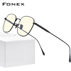FONEX Pure Titanium Anti Blue Light Blocking Glasses Women 2020 New Vintage Round Anti-Blue Rays Computer Eyeglasses Men AB8560